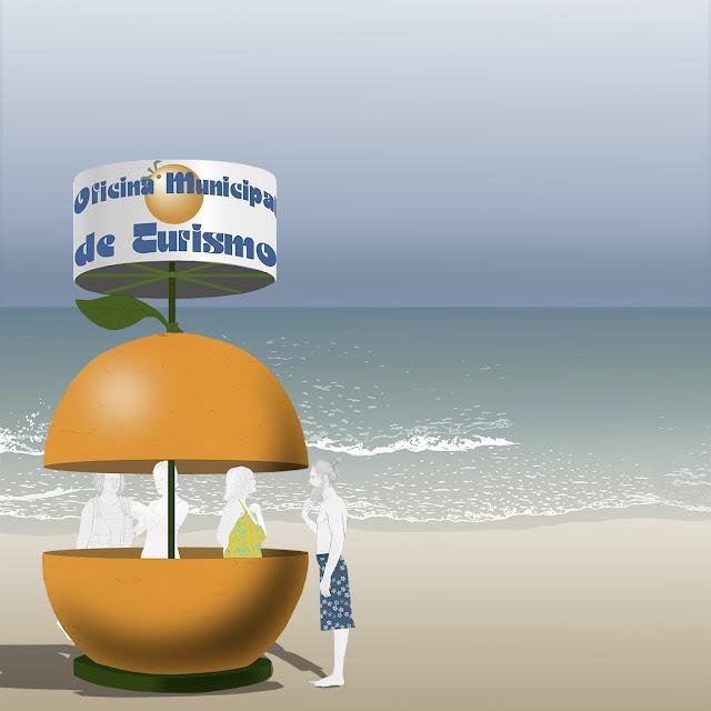 playa , oficina , turismo, dibujo