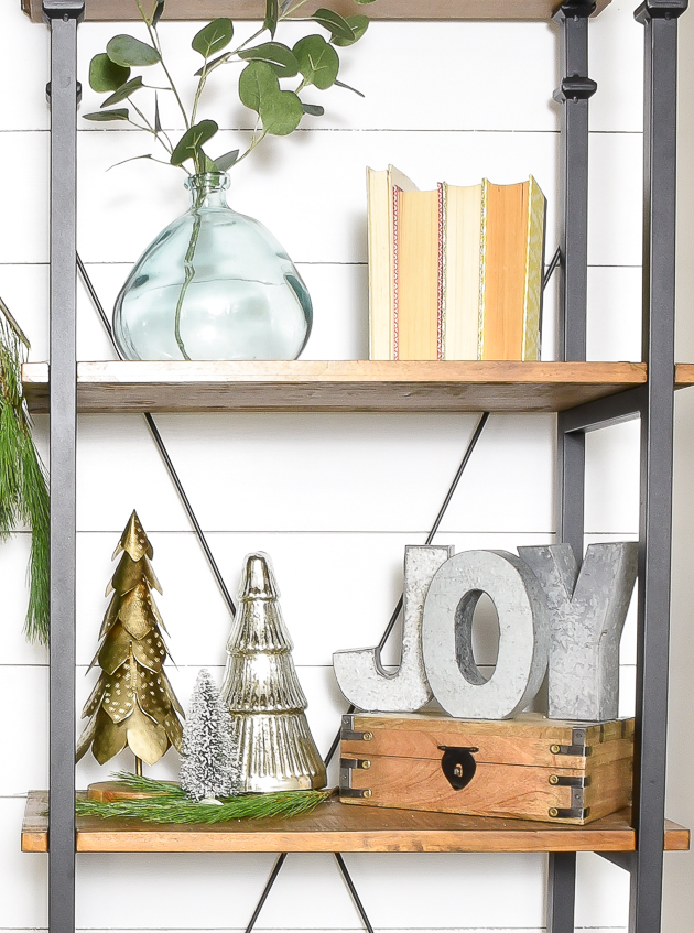Neutral Christmas mantel, holiday mantel, Christmas, modern farmhouse, Christmas Village, decorated Christmas bookshelf