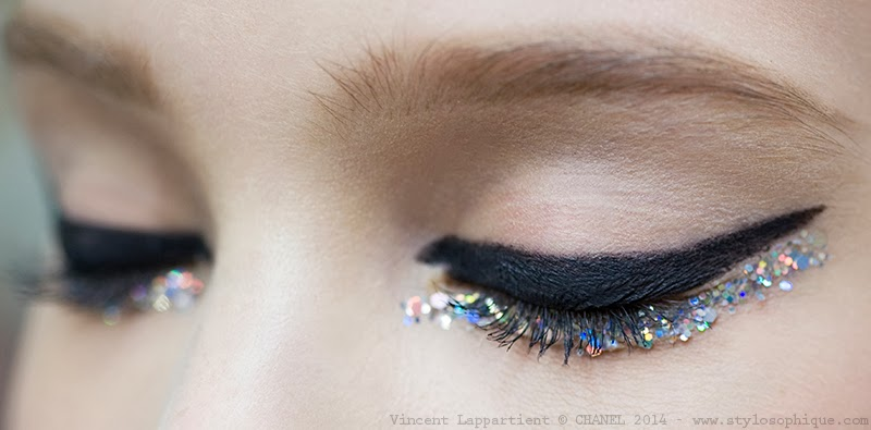 Chanel, Haute Couture, Makeup, Make Up, glitter, eyeliner, ss 2014, pe 2014, Parigi, foto, photos, dettagli, prodotti, beauty, iris tinunin, stylosophique