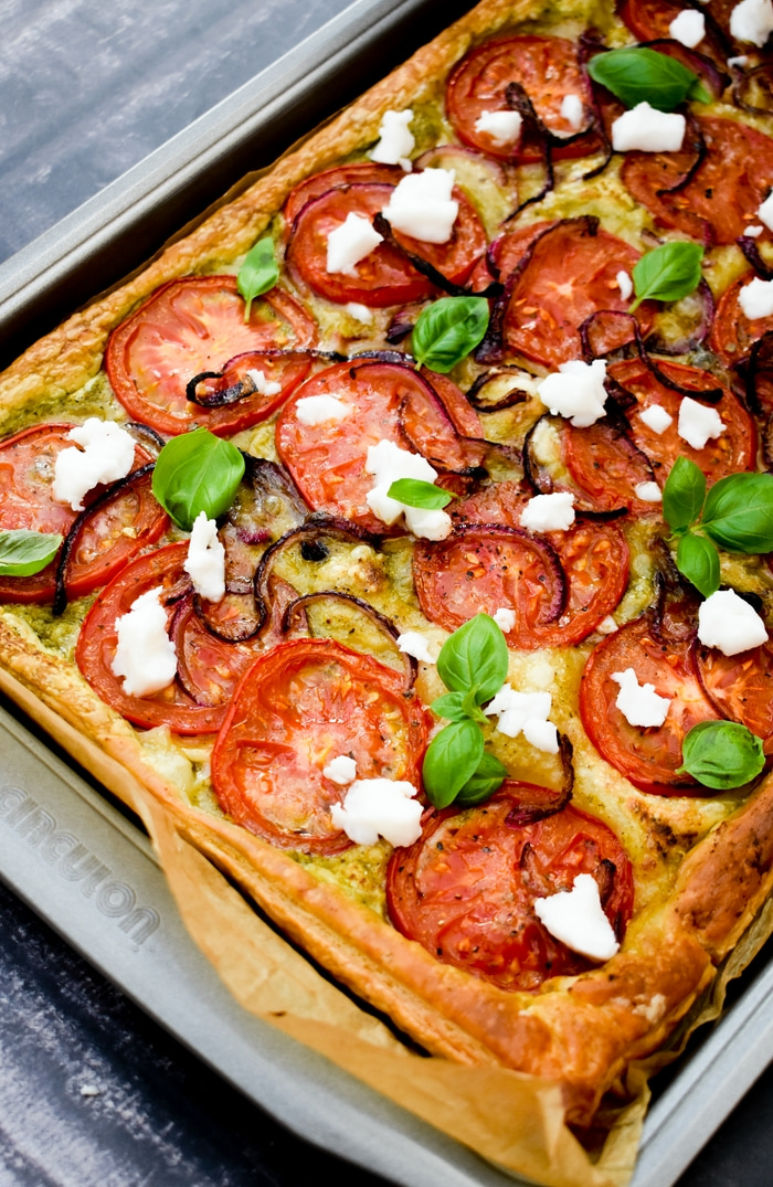 Baked Puff Pastry Tomato, Onion & Feta Tart in a baking tray