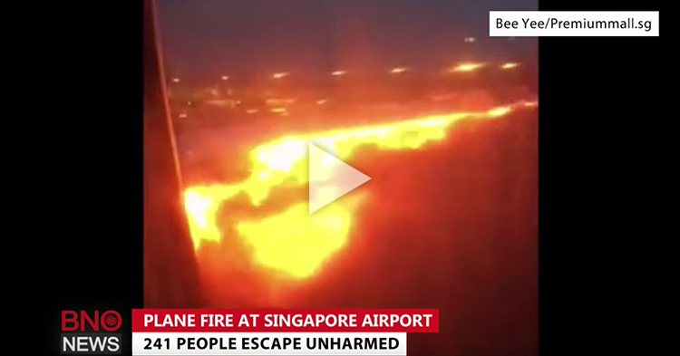 Flight Passenger captured the actual burning of their plane's wing and engine