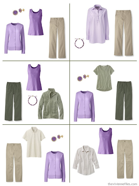 six suggestions for wearing lavender with beige or olive green