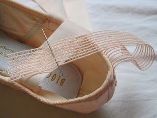 How to sew Pointe shoes 7