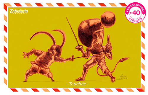 Two characters fencing caricaturised by Jésica Cichero