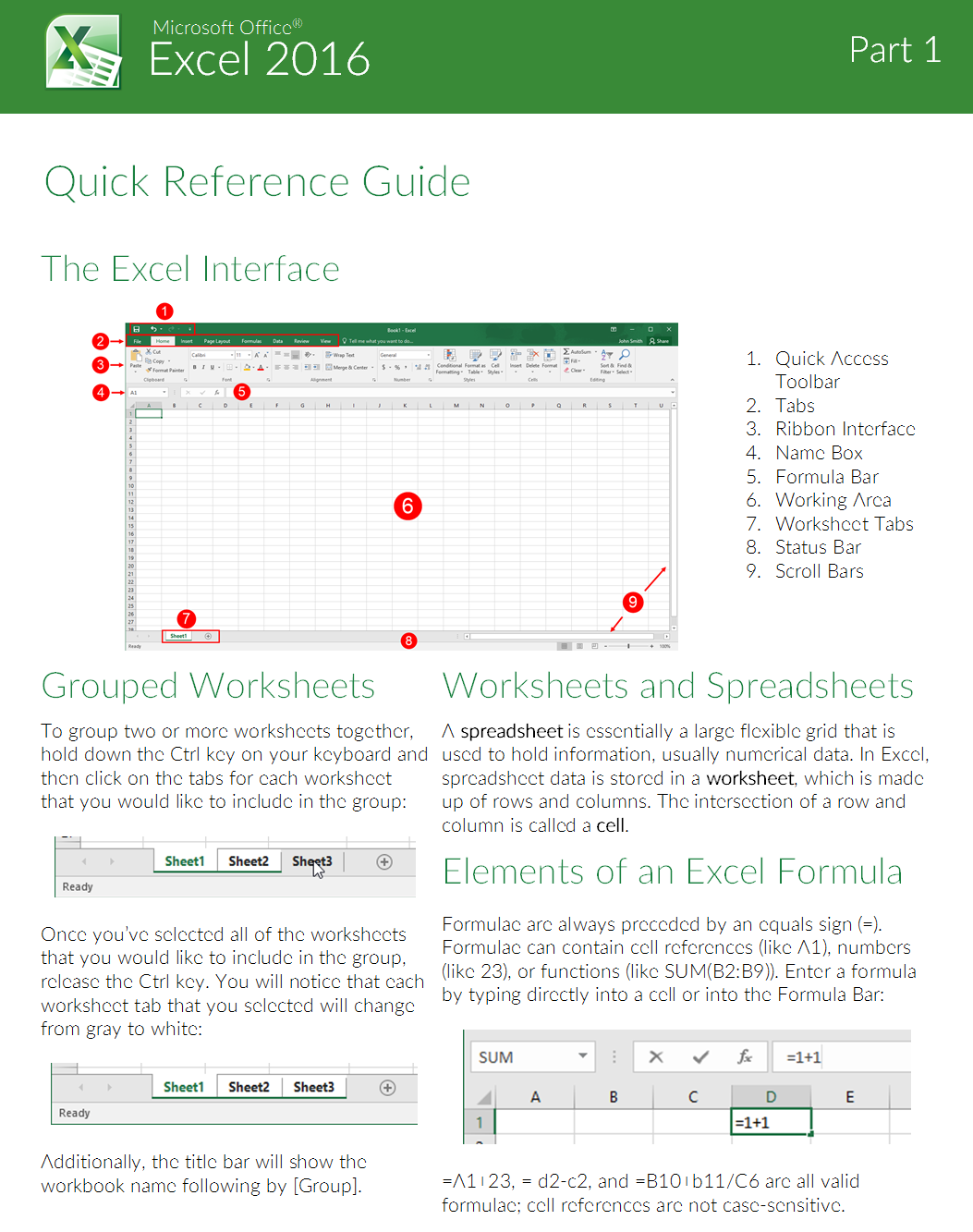 Mouse Training London Ltd Excel Quick Reference Guide Part 2