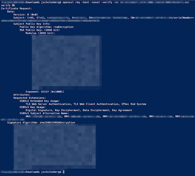 Terminal output showing a decoded CSR. Identifiable details have been redacted.