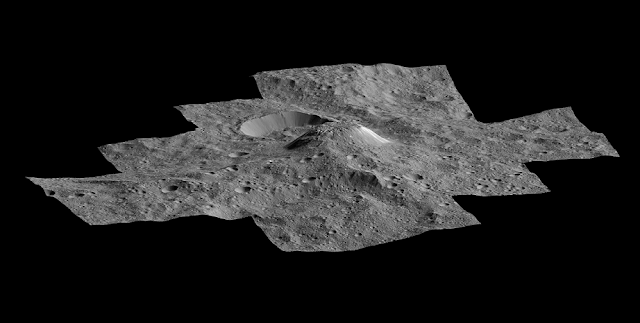 This side-perspective view of the mysterious mountain Ahuna Mons was made with images from NASA's Dawn spacecraft. Credit: NASA/JPL-Caltech/UCLA/MPS/DLR/IDA