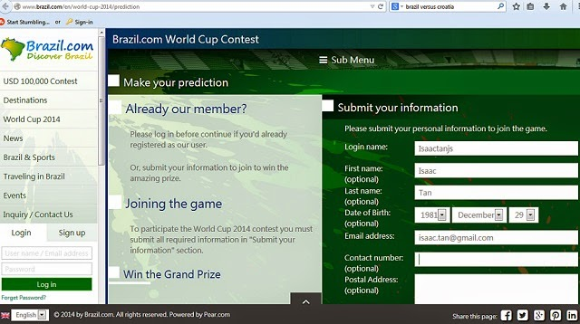 Registration for the Brazil.com World Cup contest is fairly simple