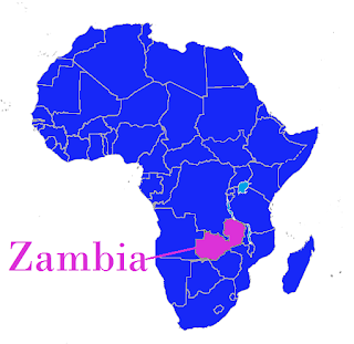 Zambia on the map of Africa.