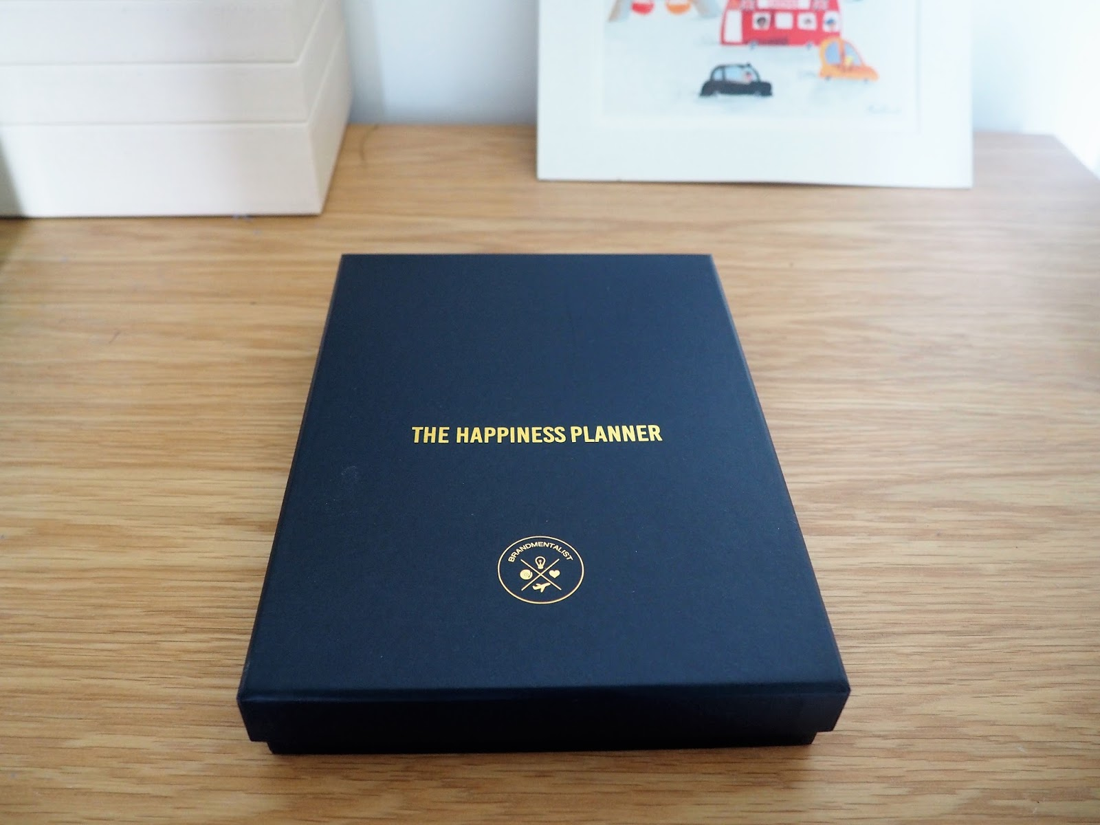 Box of the navy 52 Week Journal, by Happiness Planner