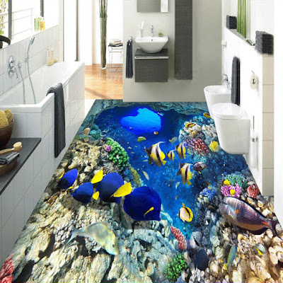 self-adhesive 3d bathroom flooring art with fish and rocks