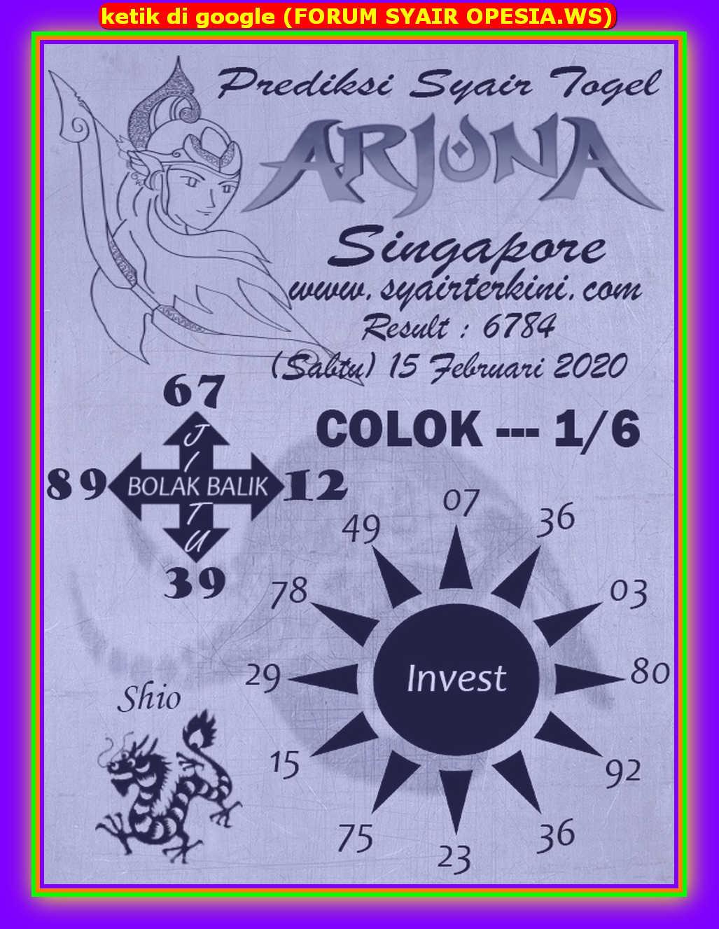 Kode syair Singapore Sabtu 15 Februari 2020 62