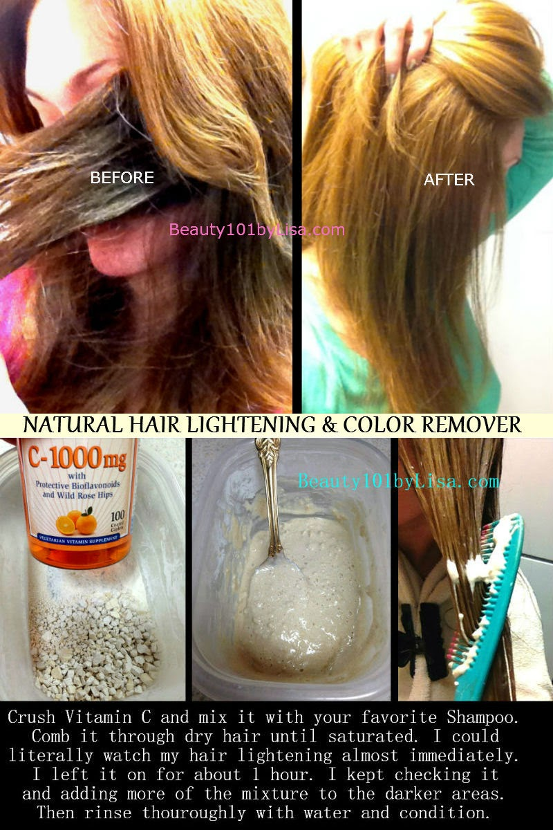 Beauty101bylisa diy at home natural hair lightening color removal vitamin c will remove color dye that has been put on your hair this is a natural color remover not a bleach if you colored your hair and it is too dark solutioingenieria Gallery