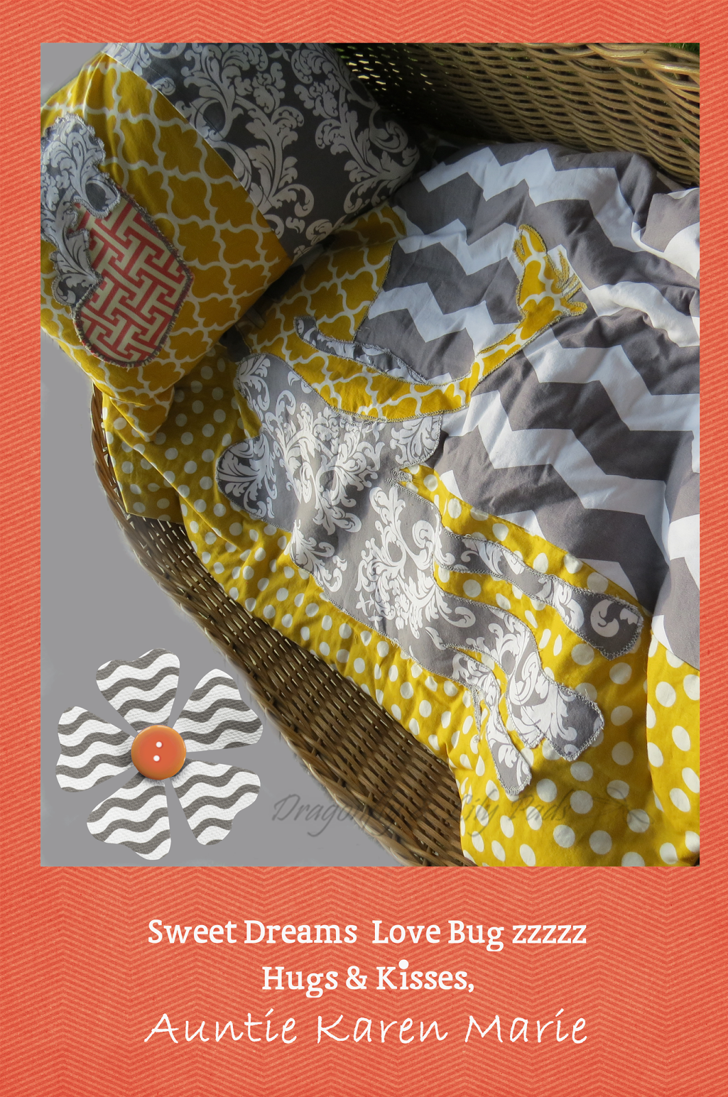 Antique  baby Basket net, Quilt, Travel Pillow, Fabric, Gray, White, Yellow, Coral, Polka dot, Chevron, Trellis, Swirl, Gray thread, Top stitch, Blanket Stitch, Flower, Button, Gray and White wavy, avy