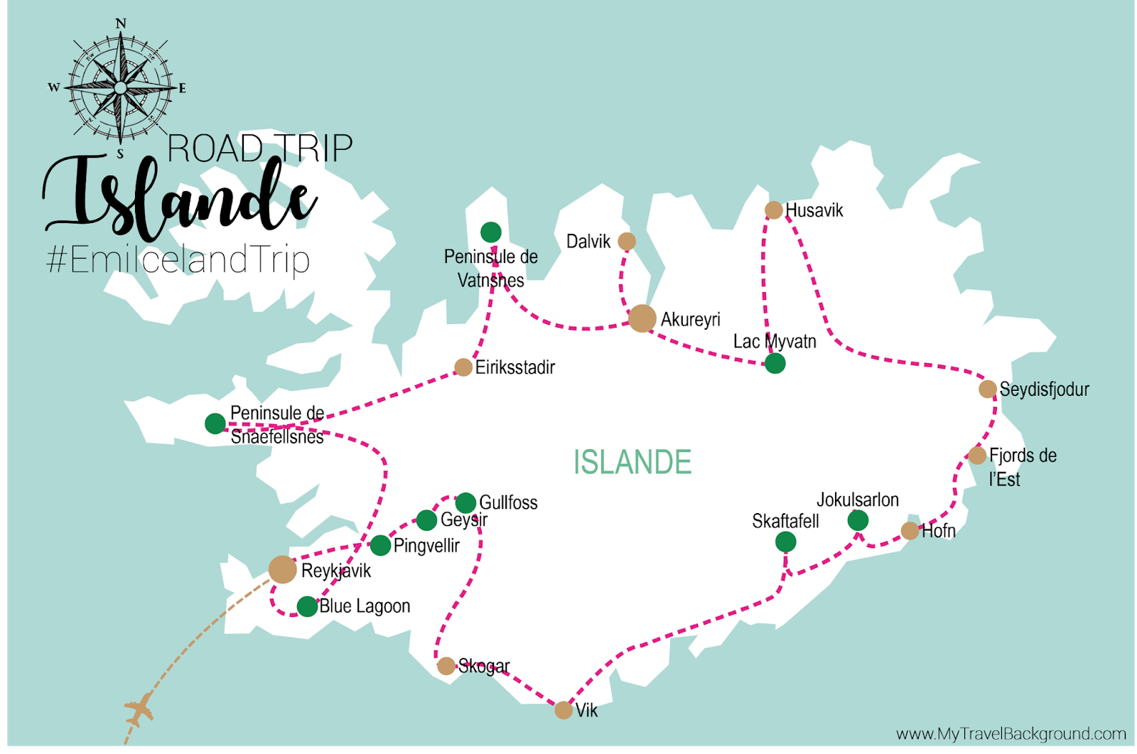 My Travel Background : mon road trip en Islande - Itinéraire