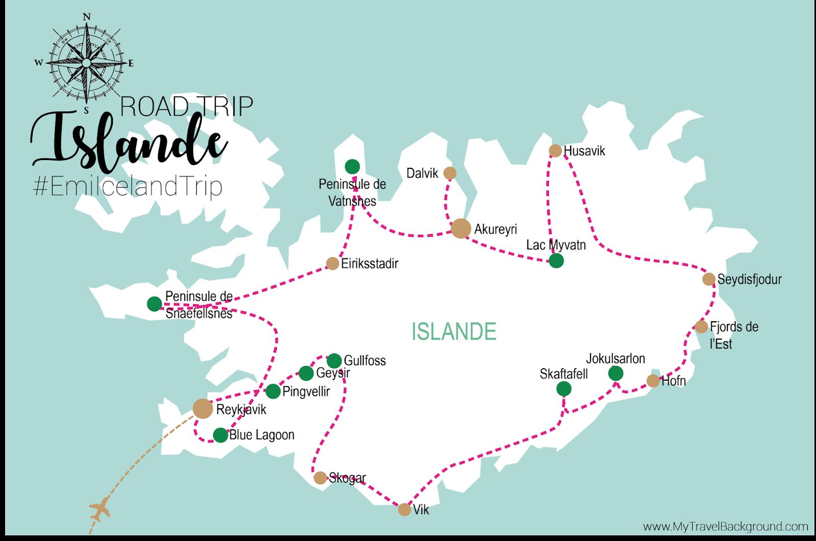 My Travel Background : mon road trip en Islande - Itinéraire