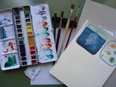 Aquarellfarben, Pinsel, Block