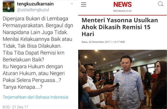 Ustadz Tengku Zulkarnain Tidak Terima Keputusan Kemenkum HAM Atas Pemberian Hak Remisi Pada Ahok