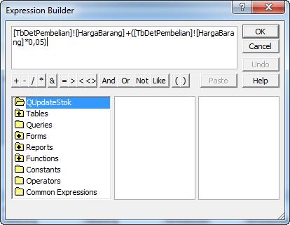 Mengurangi Stok pada Database Access 2007