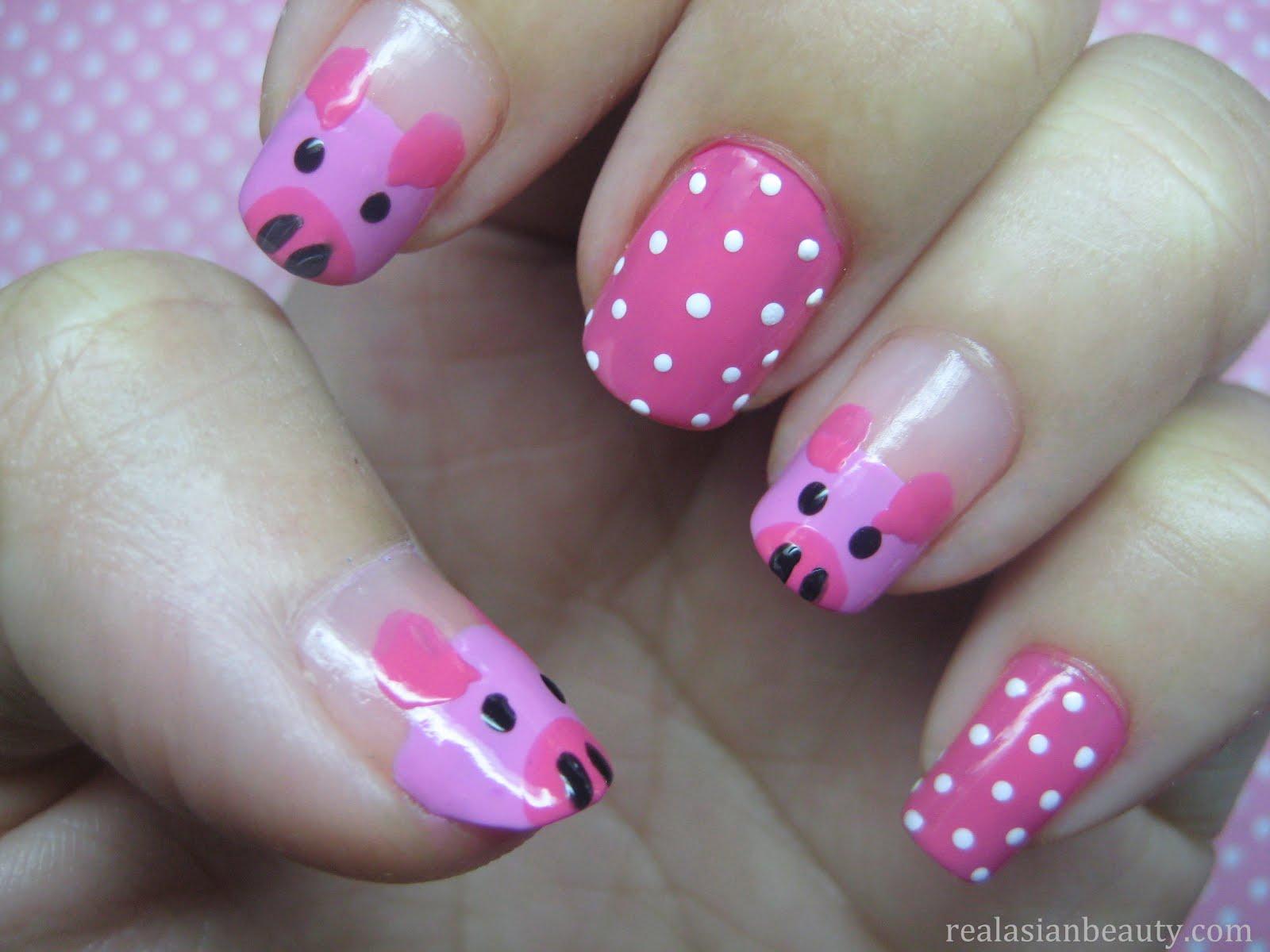 Real Asian Beauty: Cute Little Pigs Nail Art