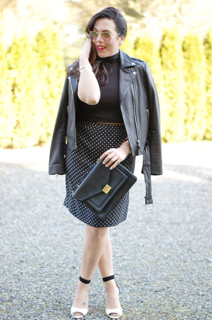 Pretty Pieces vintage polka dot skirt, Mackage leather jacket and a Loeffler Randall Rider bag Vancouver fashion blogger
