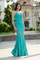 Rochie lunga tip sirena din dantela turquoise