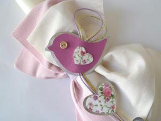χαρούμενο σετ βάπτισης πουλάκια λουλουδάκια καρδούλες ροζ εκρού για κοριτσάκι