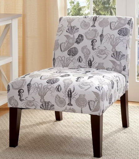 Coastal Slipper Chair Sea Life Motif Pattern Upholstered Armless