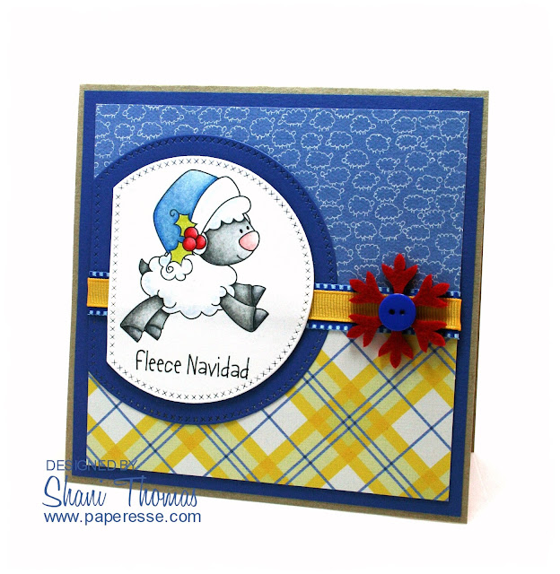 Humorous Christmas card featuring Fleece Navidad Whimsie Doodles digital stamp, by Paperesse.