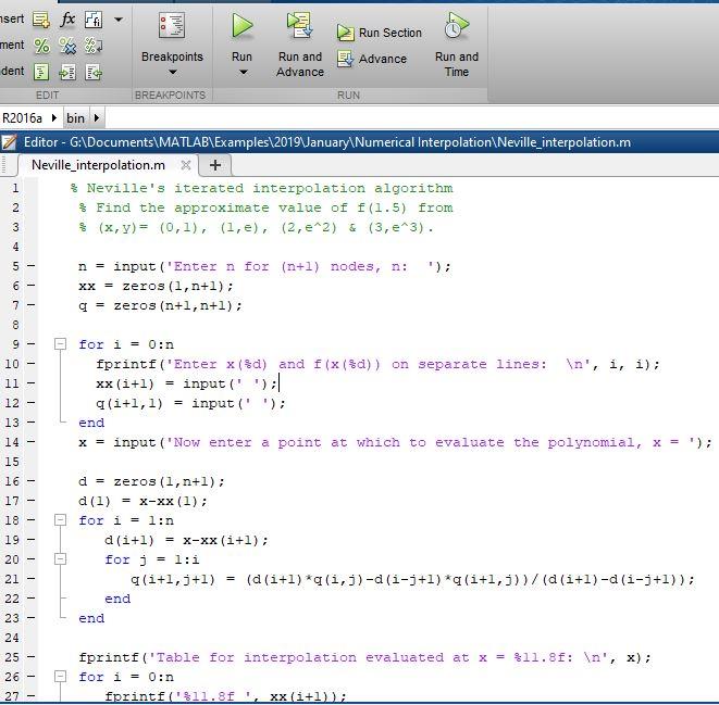 Neville interpolation using MATLAB - MATLAB Programming