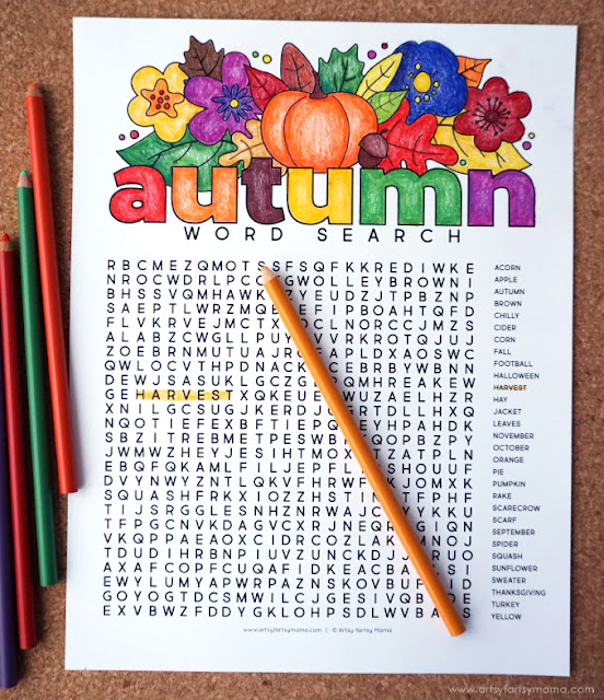 Free Printable Autumn Word Search and Coloring Page