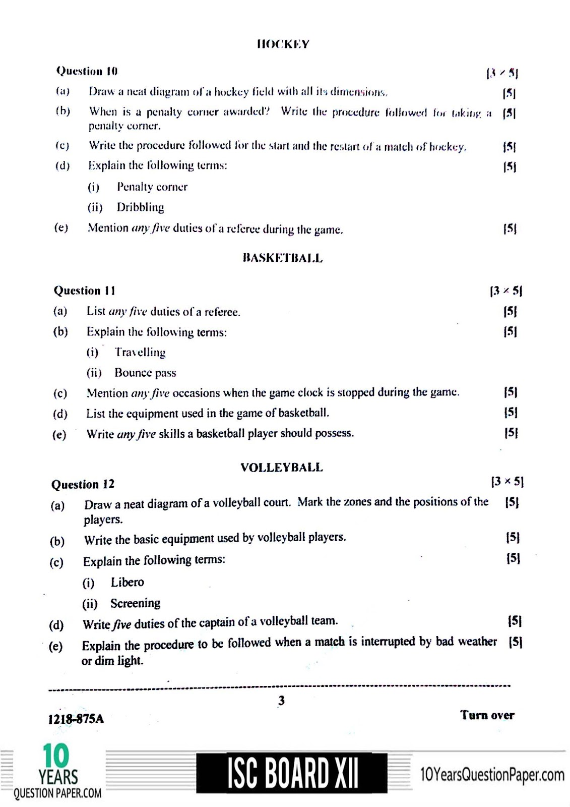 ISC Board 2018 class 12th Physical Education question paper Download PDF