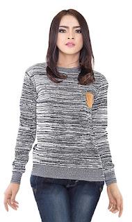 Sweater Wanita Garis Rapat Original INFICLO