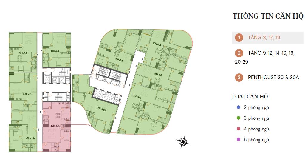Mặt bằng tổng thể tầng 9, 17, 19 chung cư Manhattan Tower
