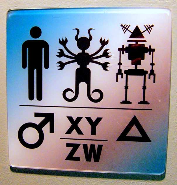 20+ Of The Most Creative Bathroom Signs Ever - Intergalactic Restroom Sign, Scifi Museum