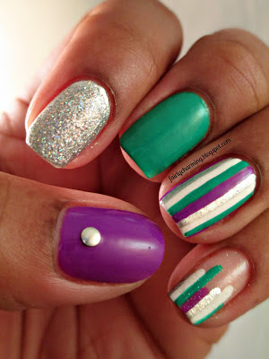 Daisy Nail Lacquer, A Green-Wish, skittlette, green, turquoise, purple, silver, holo, striping, nails, nail art, nail design, mani