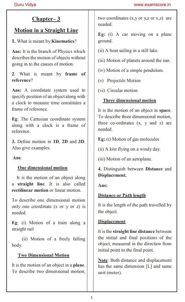 Physics Notes For Class 11 Cbse Pdf