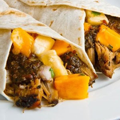 Jerk Pork Wrap with Mango Salsa by Cool Runnings Jamaican.