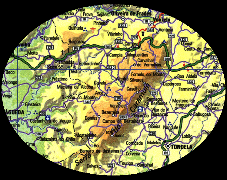 caramulo mapa portugal algaazul: