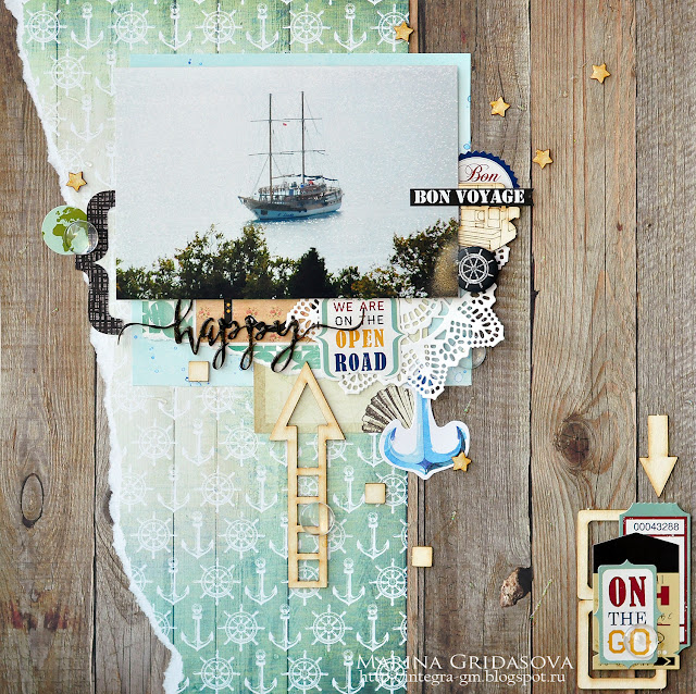 happy layout | I-Kropka DT @akonitt #layout #by_marina_gridasova #scrapbooking #ikropka #chipboard #monadesign
