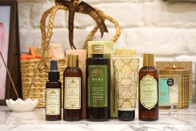 Kama Ayurveda Mogra Water, Rose Jasmine Bath and Body Oil, Cold pressed Organic Neem Oil, Foot Scrub, Darbari Meditate Body Oil