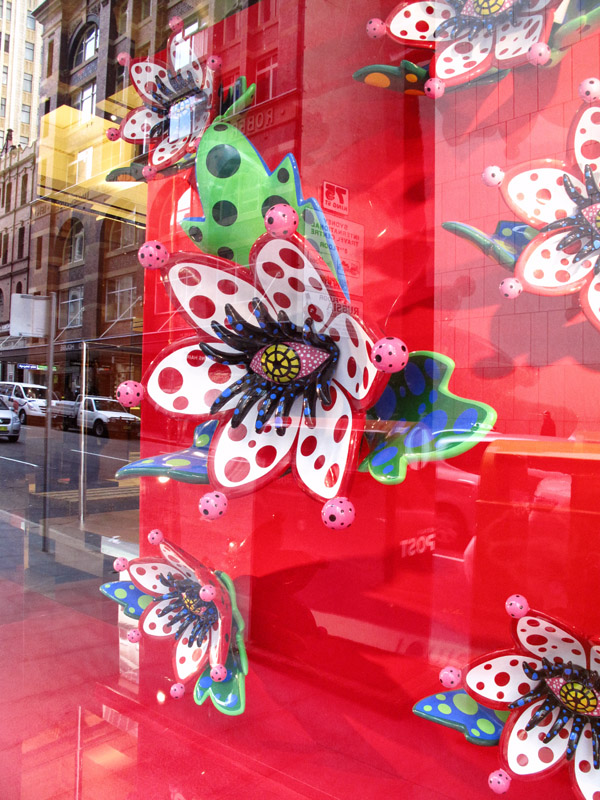 Yayoi Kusama - Louis Vuitton non-objective art installation and window display Sydney. Red Spots, Eyes and Flowers.