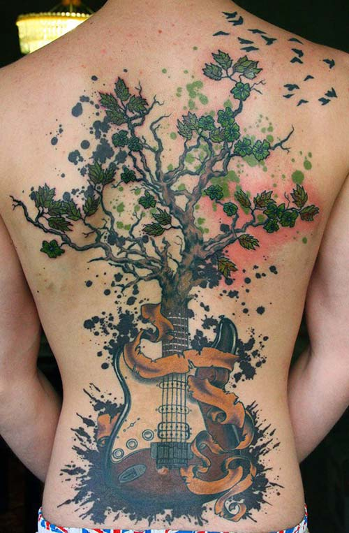 gitarlı ağaç dövmesi tree tattoo with guitar root