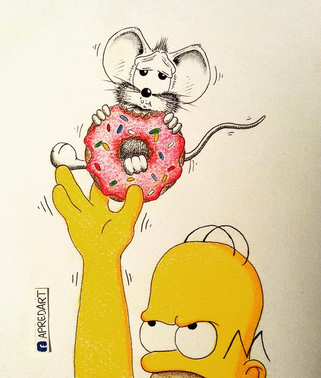 08-Homer-the-Simpsons-Loïc-Apreda-apredart-Drawings-of-Rikiki-the-Mouse-and-his-Famous-Friends-www-designstack-co