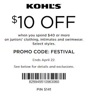 Save $10 Off $40 Juniors Clothing & Swimwear