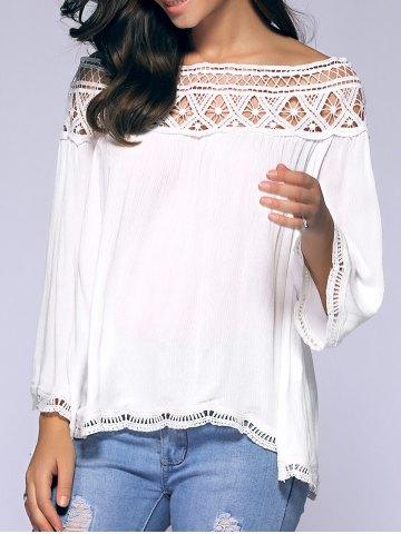 Crochet Off-The-Shoulder Blouse - White - Xl