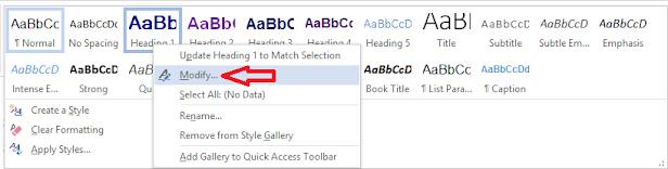 Screenshot: click on modify