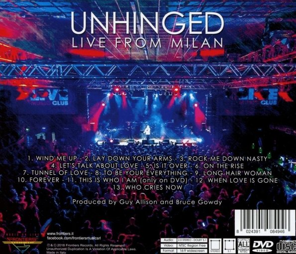 UNRULY CHILD - Unhinged, Live From Milan (2018) back