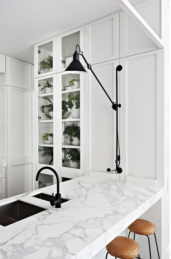 Marble kitchen countertop. Design by Hecker Guthrie and photo by Armelle Habib.