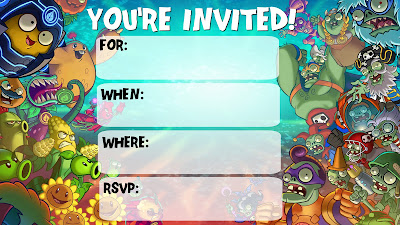 plants vs zombies printable invitations